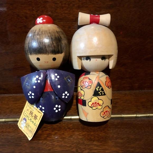 Vintage Japanese Kokeshi dolls